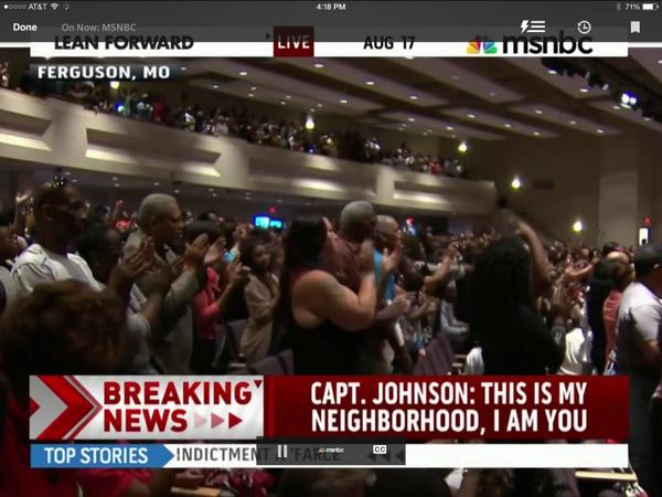 Capt Johnson given a standing ovation http://t.co/i83LM3cF8M