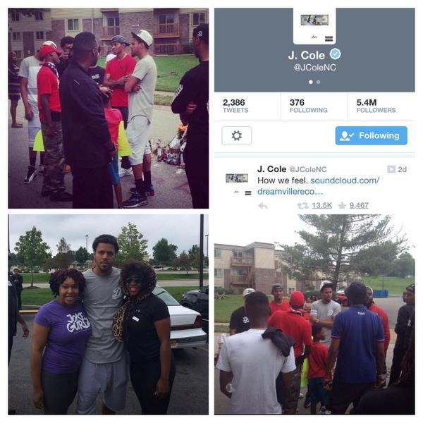 """Shoutout to @JColeNC a standup guy who stopped by #Ferguson #MO today, and didn't feel the need to """"tweet"""" about it.. http://t.co/6u7e7WK9jy"""
