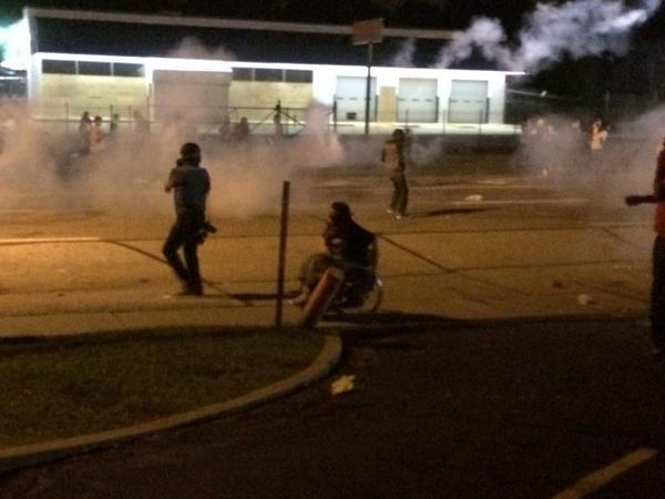 "Ye gods. :/ ""@occupythemob: Woman in wheelchair speeding away from tear gas.  This is #Ferguson http://t.co/eYsSFUazyQ"""