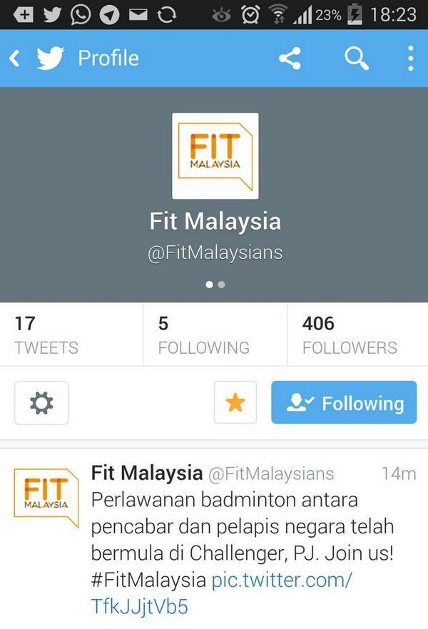 A new twitter @FitMalaysians to follow. Sangat menarik!! #FitMalaysia http://t.co/LJ3n7iGoZ9