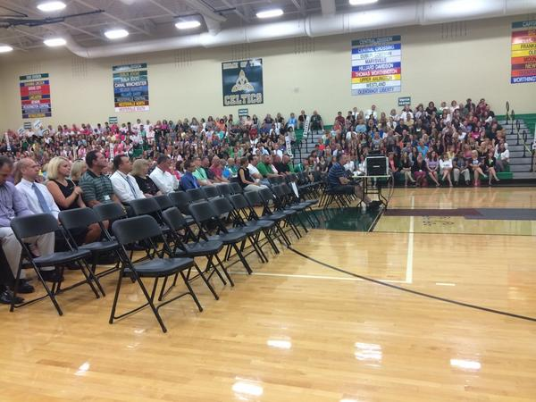 Teachers (& Central Office Staff) are just like students... No one wants to sit in front! #DCS #dubchat #convocation http://t.co/i3KXHSDzKW