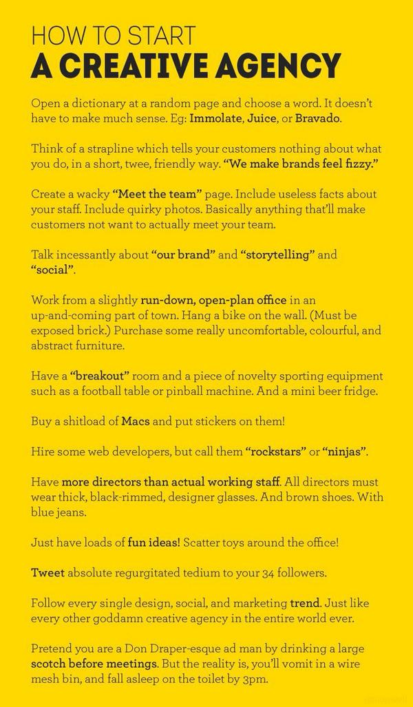 Brilliant! How to start a Creative Agency :) http://t.co/bRHwX406mg
