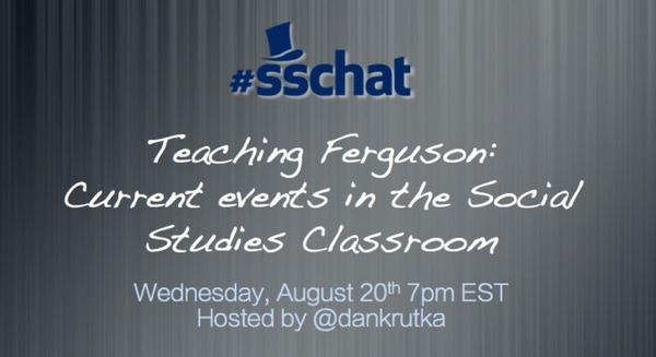 RT @dankrutka Join me for a special #sschat on Ferguson this Wed at 7pm EST & share resources https://t.co/u2Pifa3OEc http://t.co/kBk83sLuTe