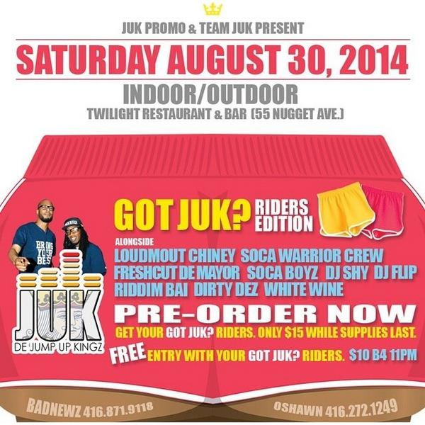 Got JUK? Show us in your $15 riders! Contact @Oshawn_JUK or @Badnewz_JUK for yours. It gets you FREE entry next Sat. http://t.co/p8fYsniUOs