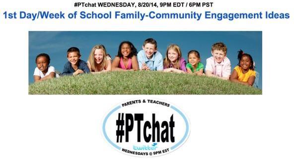 TONIGHT >> Join #PTchat as we discuss FIRST DAY/WEEK of SCHOOL Family Engagement Ideas #edchat #ptcamp #cpchat http://t.co/oB1Y49H85M