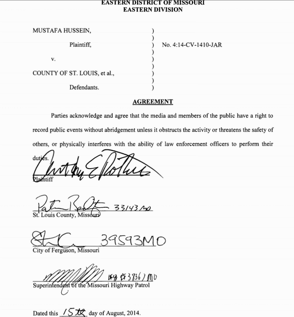 So what happens now that the police in #Ferguson have violated this signed court agreement not to arrest journalists? http://t.co/hRkedBuy7w