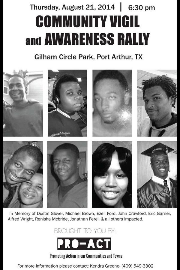 PORT ARTHUR, TX #DustinGlover #MikeBrown #TrayvonMartin #DontShoot http://t.co/YfxMAflJ4N