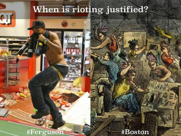 Late to #sschat but want to share this pic about #Ferguson vs. Boston Tea Party http://t.co/4t2WGp3wK9 http://t.co/hhyMGHUNmq