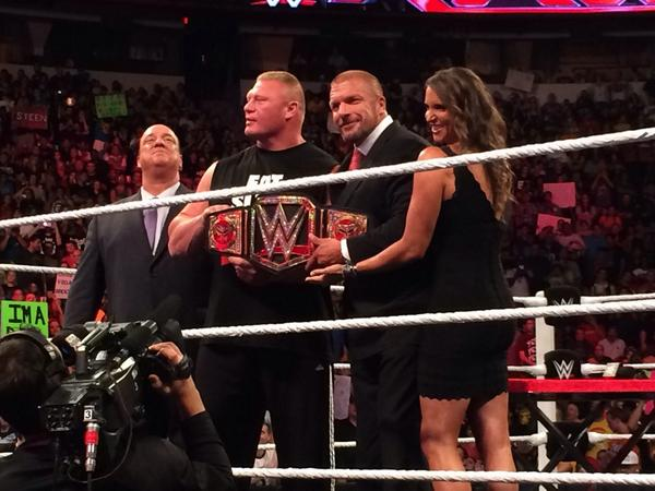 Thanks for the photo-op, guys. You're far too kind...  @BrockLesnar @HeymanHustle @TripleH   #raw #brocklesnar http://t.co/myjWaGmfoP