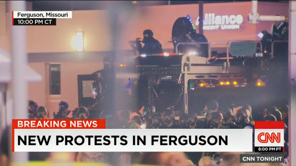 """I haven't seen anything like this since the last time I was in Afghanistan"" @jaketapper in #Ferguson http://t.co/Rk9rTg90ZF"