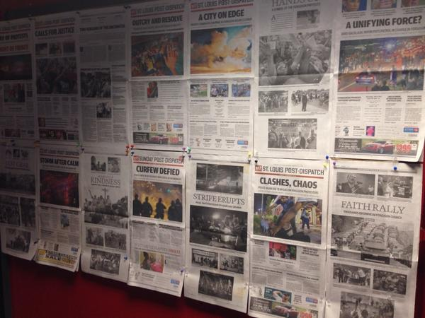 Our wall of #Ferguson coverage in the St. Louis Post-Dispatch newsroom. http://t.co/YouM9TkMX1