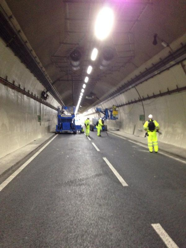 Inside the A38 tunnels under bham. In 2 weeks they'll be open again. For an update on the works watch @bbcmtd http://t.co/1MaptBJtJg