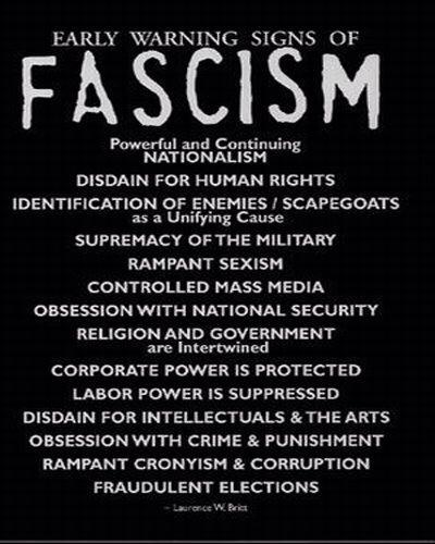 Below are the aspects of fascism, that are prevalent today. Lets let in the light not continue on into the abyss - https://t.co/OEAwREElYJ
