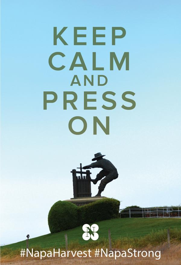 Harvest carries on in Napa Valley. Keep calm and press on! #NapaHarvest #NapaStrong #NapaEarthquake http://t.co/MAb1ms7lPE