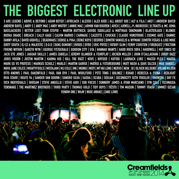 Creamfields Festival 2014 | Lineup | Tickets | Prices | Dates | Video | News | Rumors | Mobile App