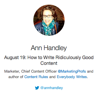 1 HOUR to #BizHeroes!!!   How to write ridiculously good content!  Join us + Ann Handley @MarketingProfs! http://t.co/op7tlVZ6Eq