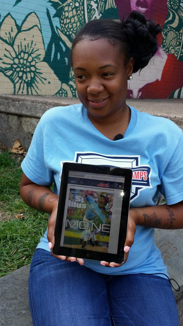 #TaneyDragons Ace Mo'ne Davis on Sports Illustrated.  This is her Mom's look of pride! http://t.co/eGMlMOXiue