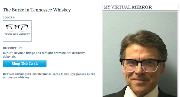 FYI the Rick Perry mugshot works on the Warby Parker virtual try-on tool in case you want to see some hipster stylez http://t.co/GpfyOTZ62v