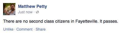 Alderman Petty's Facebook status about it passing #FairFayetteville http://t.co/RK6KYMLZTO