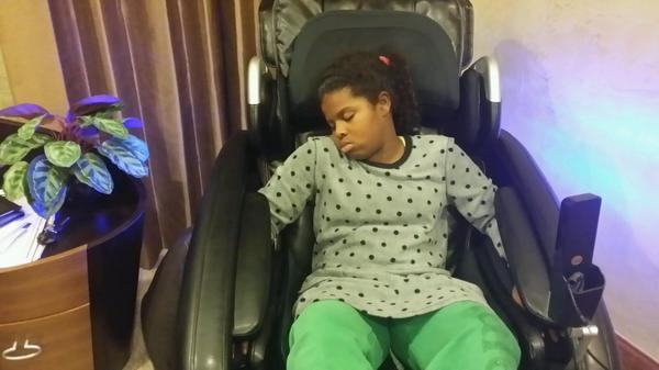 Beau My Babygirl Feel Asleep In My Massage Chair. My Kids Love This Chair! @
