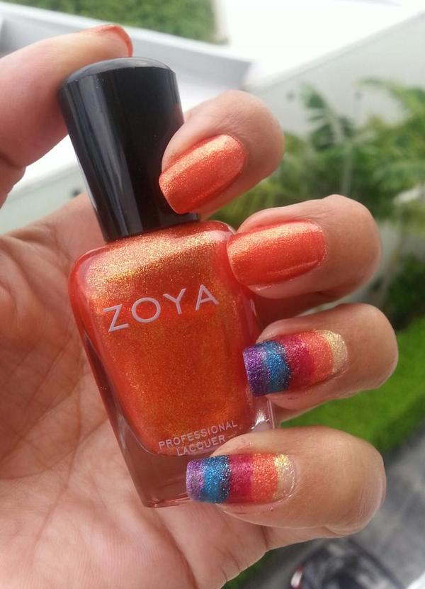 Straight girl showing support for gay rights with a little #NailArt featuring @ZoyaNailPolish #Rainbow http://t.co/EfXdBxVxL1