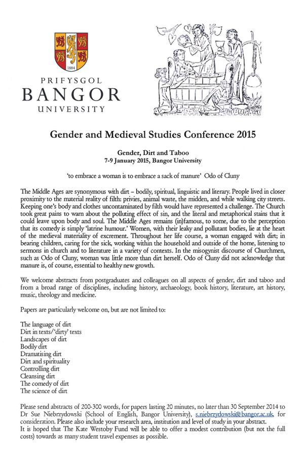 'Gender, Dirt & Taboo': #Gender & #Medieval Studies #Conference @BangorUni, 7-9 January 2015. #CfP deadline: 30/9/14 http://t.co/xn2UKFZtR1