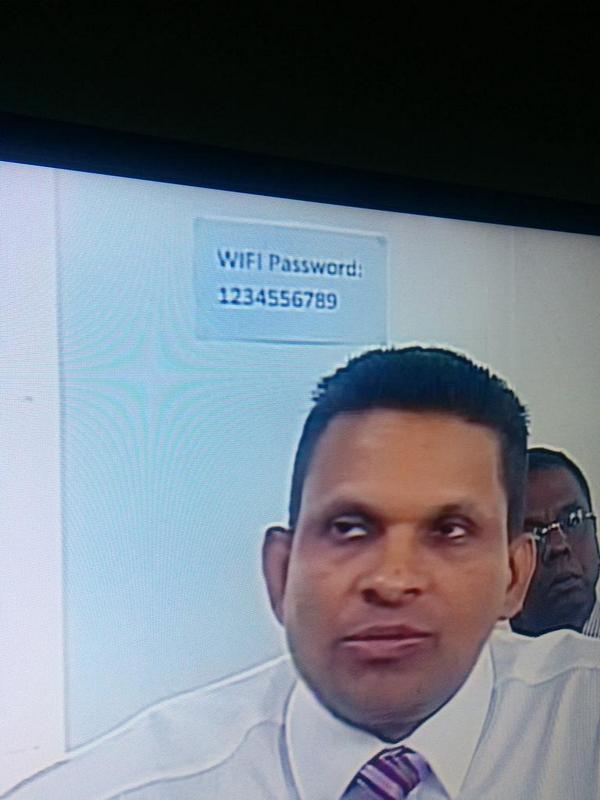 How secure are we Defense minister? RT @semiicold: Look at the WiFi password right behind him.