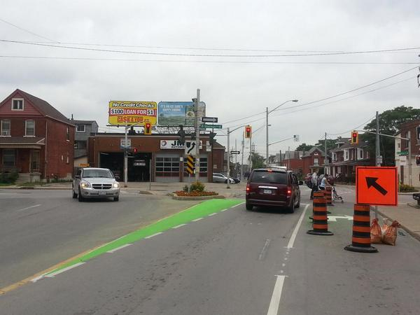 Green painted wedge just east of Sherman marks the beginning of the cycle track