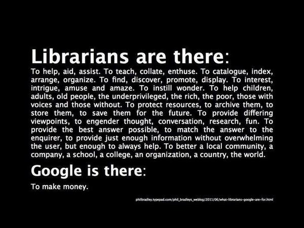 Why we need librarians when we have Google! @Philbradley's great quote #national14 #session21 http://t.co/p9VKYZ3BMP http://t.co/p9VKYYLsyH