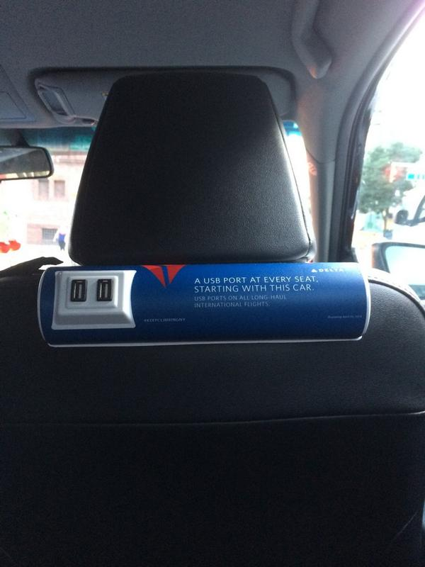 Well played @Delta - advertising with USB ports in @Uber cars. http://t.co/8wt04WKpCv
