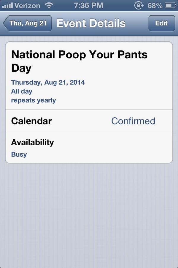 Scooter On Twitter Tomorrow Is National Poop Your Pants Day Http