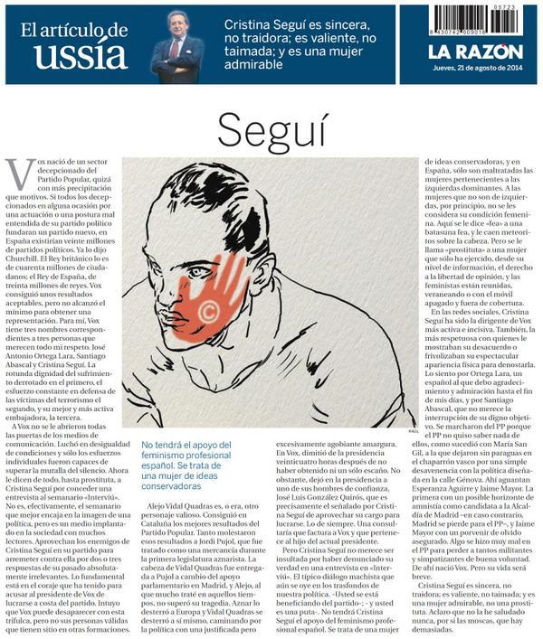 . @alfonso_ussia escribe de @Cris_Segui_ en @larazon_es. Matizaría cosas de #Vox, pero comparto lo buena que es ella: http://t.co/bnetiCHgKb