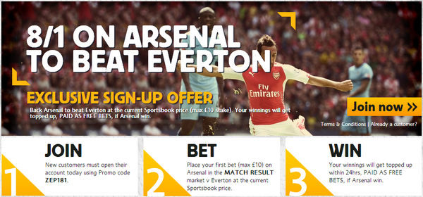 CRUSH THE BOOKIES: Back Arsenal to beat Everton at 8/1!!!