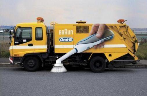 Oral-B Toothbrush ambient ad on street cleaning truck. Awesome! http://t.co/XRsmRJPIaW