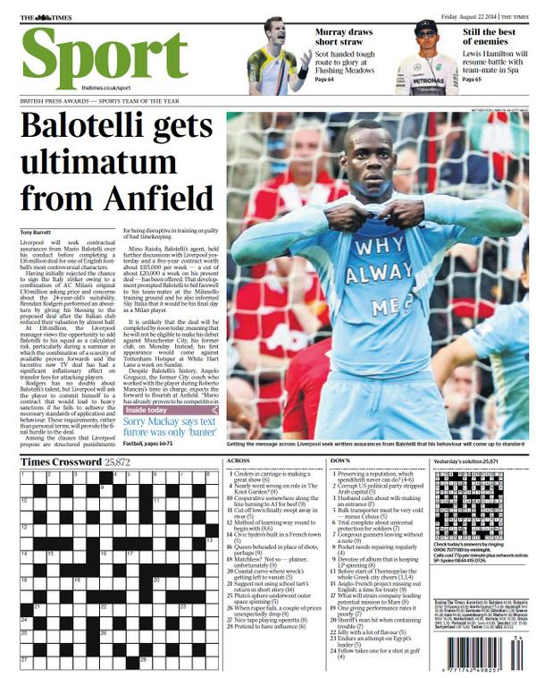 Liverpool give conduct ultimatum to Mario Balotelli before signing Milan striker [Times]