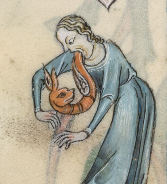 "WTF medieval illuminated manuscript detail of the day: ""@DamienKempf: Exorcism (@BLMedieval, Luttrell Psalter) http://t.co/lmqZ46jxuf"""