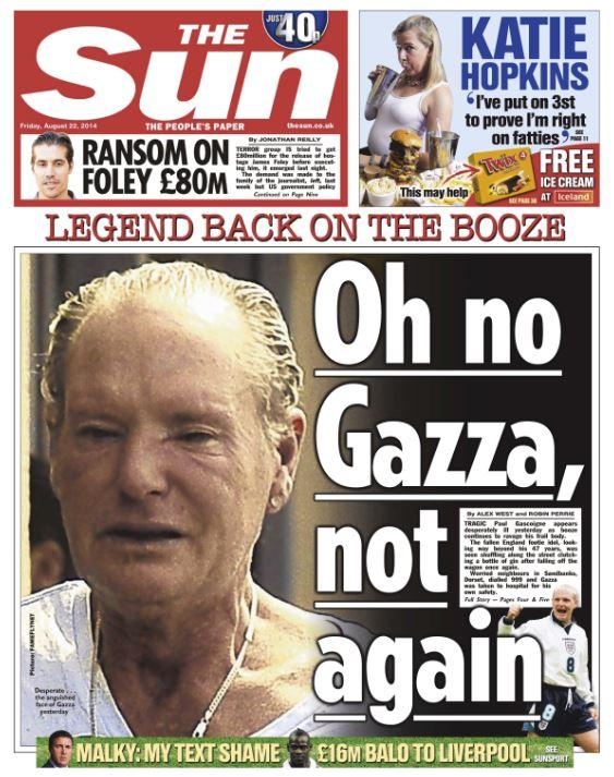 Oh No Not This Again >> Sky News On Twitter Sun Front Page Oh No Gazza Not Again