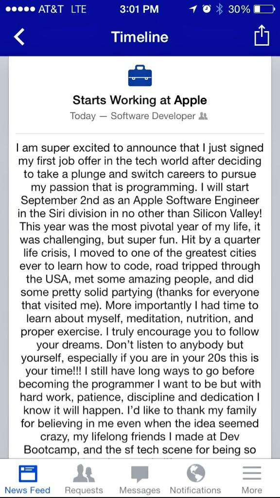 When the place you work helps people land jobs as developers at Apple. Crazy. http://t.co/uEIAHqi5oH