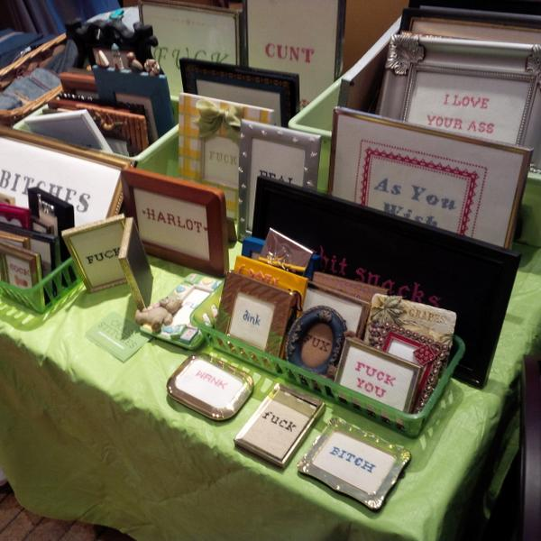 Selling @CrassStitches at the @GladstoneHotel till 11 tonight. Swing by for a pint and some saucy needlepoint! http://t.co/MTbceobkbL