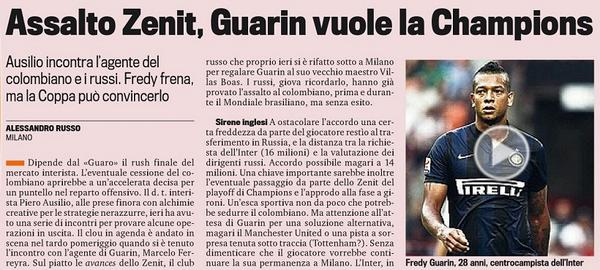 Man United & Zenit open dialog with Inter Milan for Fredy Guarin [Corriere Dello Sport]