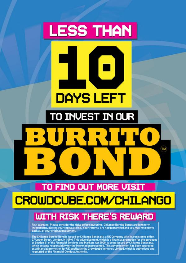 BURRITO BOND! LAST 5 DAYS! Earn 8% per year! Over £1.8m raised from 600+ people. #investaware http://t.co/H5NfZG2JHH http://t.co/HVNTCsnoMf