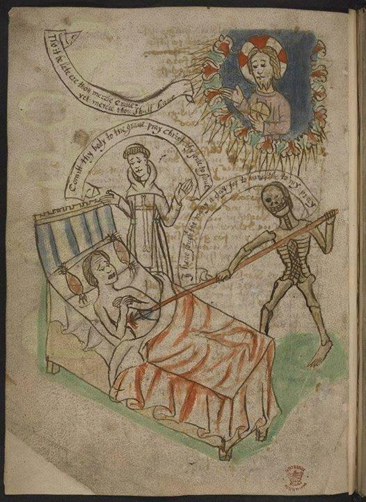 I love how Death appears to be winking in this medieval manuscript from the British Library. That cheeky bastard! http://t.co/XcfXM8hajD
