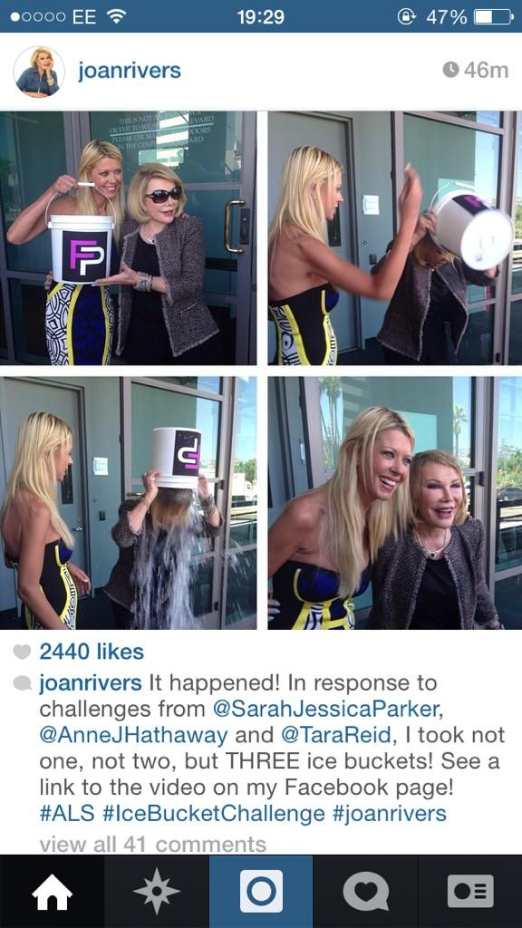 Can't believe @Joan_Rivers has done the #IceBucketChallenge love her hope I'm that fab and sassy at 81 what a legend http://t.co/L6BY4V7jKt