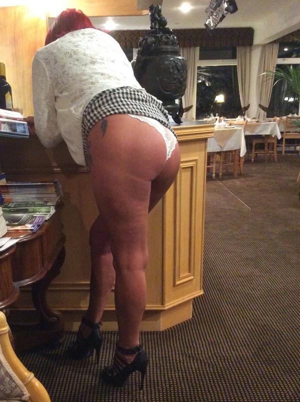 Wife flashing ass in thong
