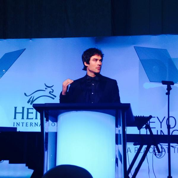 """It's an honor to be here tonight to receive this award from a group like Heifer International."" - @iansomerhalder http://t.co/09IPev50dF"