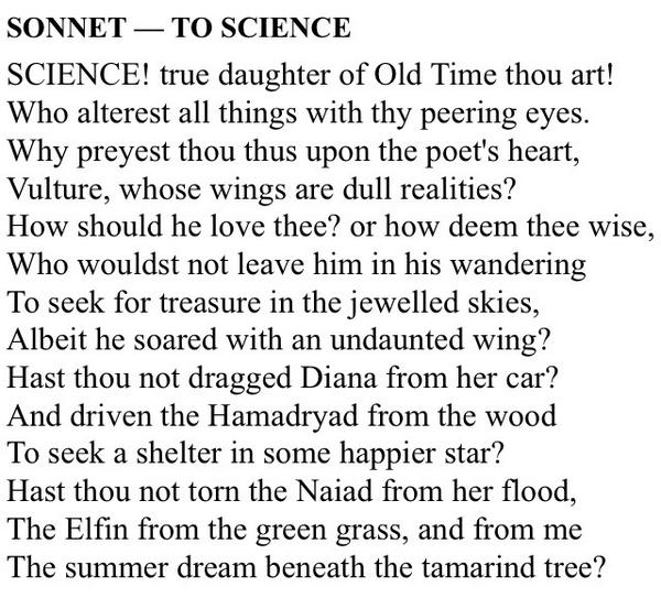 sonnet to science edgar allan poe