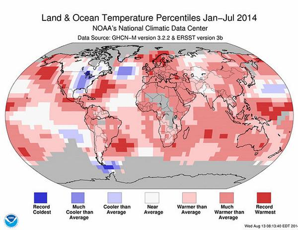 The red areas on this map show where new high-temperature records have been set in 2014: http://t.co/tLN46fvHT2 http://t.co/Cwxf4NAqBB