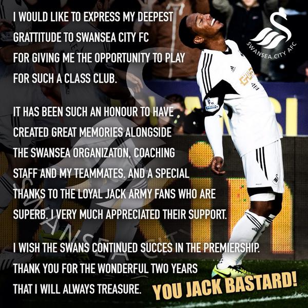 To all my Swansea City Jack Bastards! http://t.co/95Knmk6m0Q