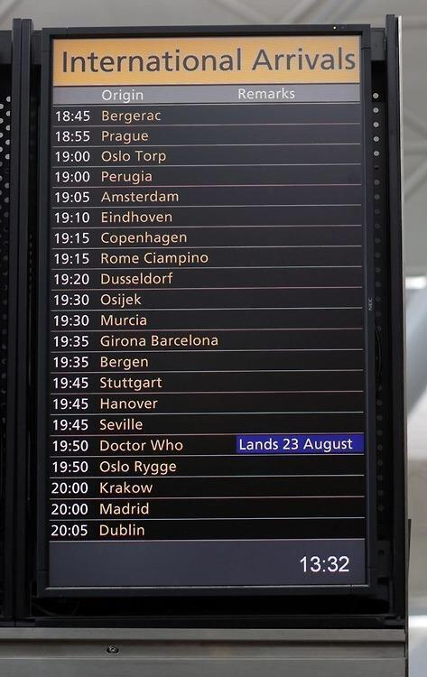 so if the Beeb can get #drwho on the Stansted arrivals board I wonder if they'll get BBCThree on departures? http://t.co/MOY6g7zcNG