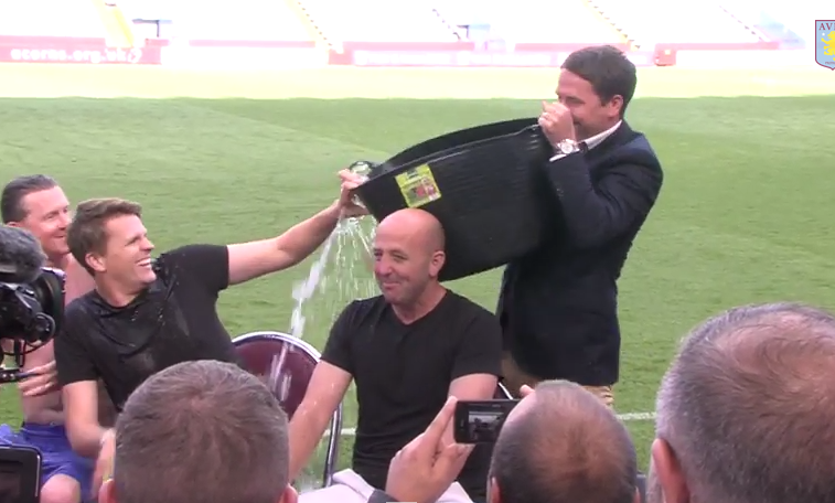 FAIL: Michael Owen misses 1.5 out of 3 as dunker in Ice Bucket Challenge [Video]